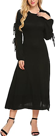 Zeagoo Womens Long Sleeve Loose Maxi Dress Solid Color Side Split Pullover Long Knitted Jumper Dress Black