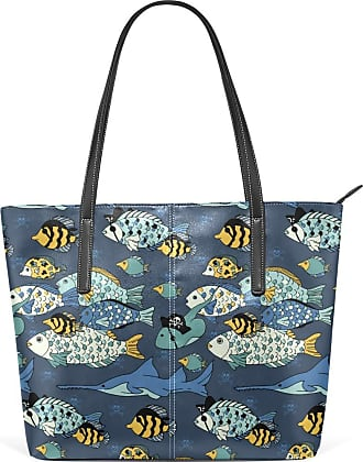 NaiiaN Tote Bag Shoulder Bags Leather Sea Life Seamless Colorful Fish Pattern Light Weight Strap for Women Girls Ladies Student Handbags Purse Shopping Mount