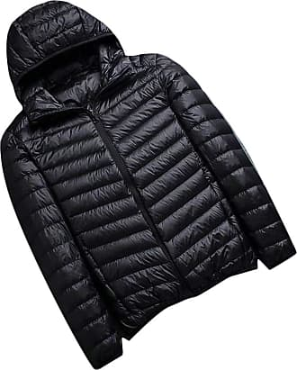 H&E Mens Ultra Light Hooded Puffer Packable Autumn Winter Down Jacket Coat Black S