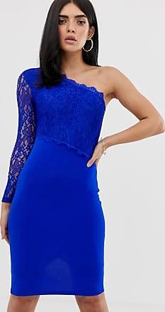 AX PARIS Kanten bodycon-jurk met een blote schouder-Blauw