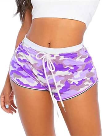QIYUN.Z Women Causal Camouflage Print Shorts Cotton Soft Cozy Elastic Skinny Patchwork Shorts Purple 2XL