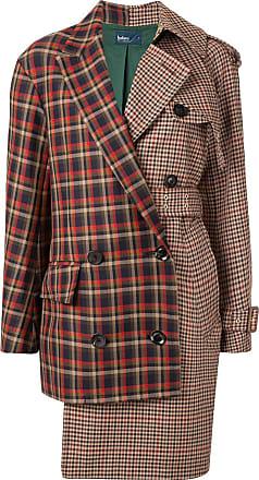 Kolor asymmetric check coat - Brown