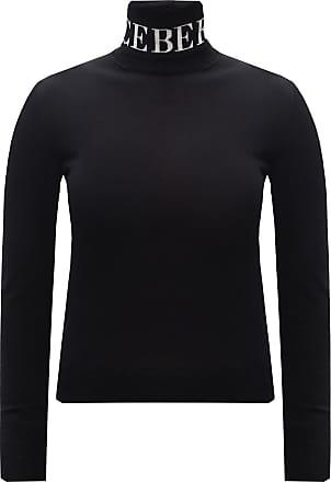 Iceberg Logo Roll Neck Sweater Womens Black
