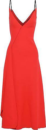 Roland Mouret Roland Mouret Woman Hooper Draped Wool-crepe Midi Dress Tomato Red Size 12