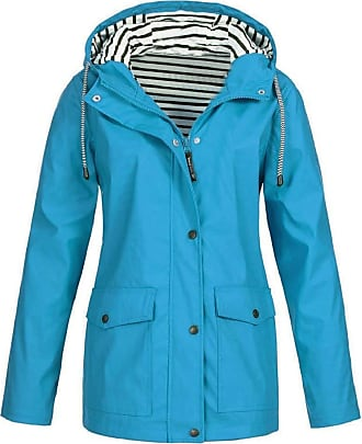 Yvelands Rain Jacket for Women Fashion Solid Color Long Sleeve Rain Coat with Hood Plus Size Outdoor Windproof Raincoat for Ladies Sky Blue
