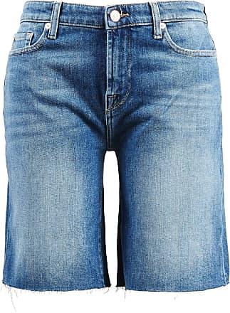 7 For All Mankind Jeans-Shorts mit ausgefranstem Saum Mittelblau