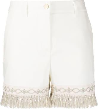 Blumarine Short com franjas na barra - Branco