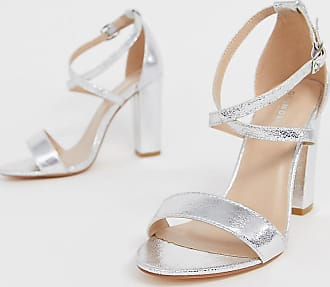 Glamorous cross strap heeled sandals in silver