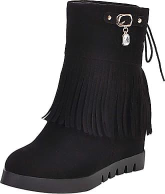 RAZAMAZA Women Classic Wedge Heel Fringe Boots Round Toe Hidden Heel Short Boots Pull On Ankle Boots Black Size 41 Asian
