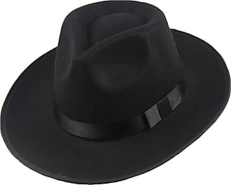 junkai Men Women Hard Felt Hat Wide Brim Fedora Panama Hat Gangster Vintage Cap Black One Size