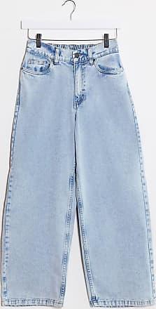 Noisy May Jeans ampi vita alta lavaggio azzurro-Blu