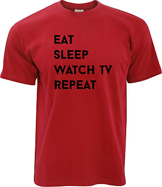 Tim And Ted Lazy T Shirt Eat, Sleep, Watch TV, Repeat Slogan - (Red/XX-Large)