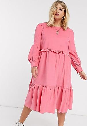 Asos Curve ASOS DESIGN Curve - Vestito grembiule a strati rosa a coste con volant