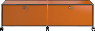 USM Haller Hi-Fi/TV Board mit 2 Klapptüren - reinorange RAL 2004/mit Gegengewicht/152.3 x 43 x 37.3 cm/mit Rollen