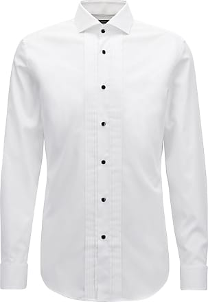 BOSS Slim-fit dress shirt in brilliant-white Austrian cotton
