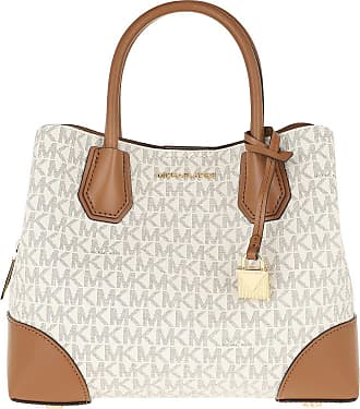 Michael Kors Tote - Mercer Gallery Satchel Bag Vanilla/Acorn - brown, beige - Tote for ladies