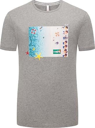 Sun 68 Übergröße : Sun 68, T-Shirt mit Urlaubsprint in Grau für Herren