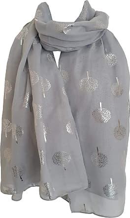 GlamLondon Glitter Trees Scarf Womens Foil Printed Tree Fashion Ladies Wrap (Silver Grey)