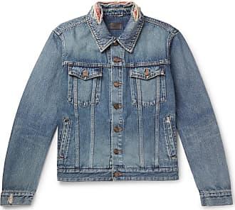 Saint Laurent Slim-fit Bandana-trimmed Distressed Denim Jacket - Blue