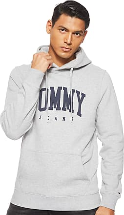 Tommy Jeans Tommy_Jeans Mens Tjm Essential Tommy Hoodie Jumper, Grey (Lt Grey HTR 038), X-Small