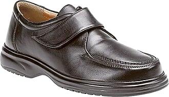 Roamers Mens Black Leather E Fitting Touch Fastening Apron Leisure Shoe - Black - size UK Mens Size 10