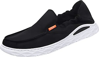 Daytwork Slip On Boat Shoes - Mens Shoes Canvas Breathable Cloth Loafers Leisure Vintage Flat Comfort Walking Sneakers Boat Shoes Black