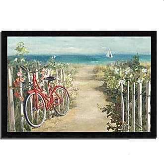 Tangletown Fine Art Summer Ride by Danhui NAI Framed Art Red, White, Tan, Green, Blue