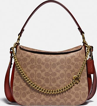 Coach Signature Chain Hobo In Signature Canvas in Beige/Brown
