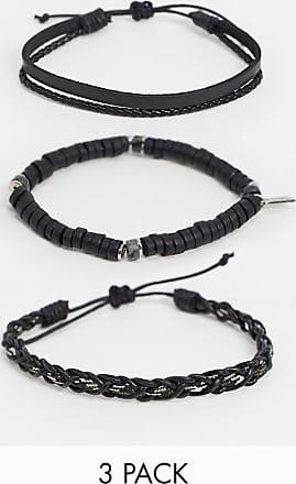 Icon Brand Confezione di braccialetti neri in pelle e con perline-Nero
