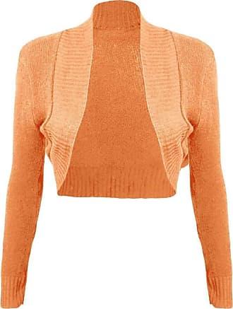 Islander Fashions Women Ladies Long Sleeve Knitted Shrug Cardigan Bolero Crop Top (Small, Orange)