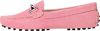 MGM-Joymod Ladies Womens Casual Slip-on Metal Buckle Pink Suede Leather Walking Driving Loafers Flats Moccasins Hiking Shoes 6.5 M UK