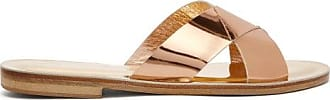 ÁLVARO GONZÁLEZ Antonia Metallic-leather Slides - Womens - Gold