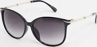 Warehouse metal arm cateye sunglasses in black