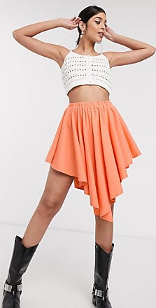 ZYA The Label asymmetric gathered skirt-Orange