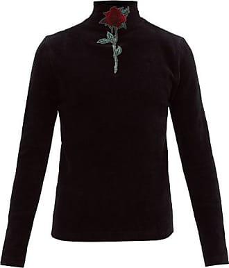 Y / Project Rose-appliqué High-neck Cotton Sweater - Mens - Black