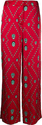 Kirin mask print wide leg trousers - Red