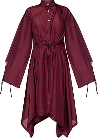 Lanvin Silk Dress With Tie Closures Womens Burgundy