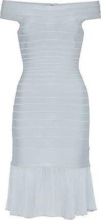 Hérve Léger Hervé Léger Woman Off-the-shoulder Pleated Crepe De Chine-paneled Bandage Dress Sky Blue Size XXS