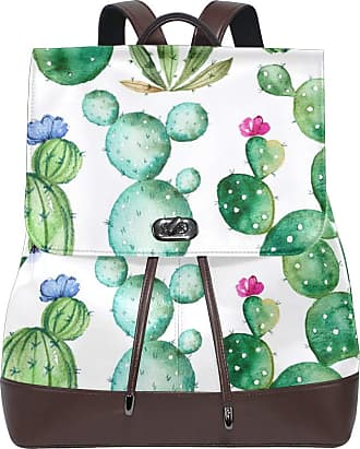Ahomy Women Leather Backpack Watercolor Tropical Cactus Flowers Waterproof Anti-theft Fashion School Backpack Casual Daypacks
