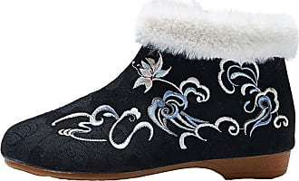 ICEGREY Womens Chinese Embroidered Shoes Winter Boots Slip on Loafer Black-1 5.5
