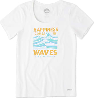 Life is good Womens Happiness Comes In Waves Crusher Scoop Neck Tee XXXL Cloud White