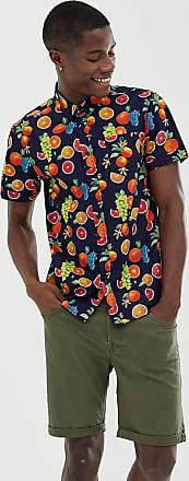 Brave Soul Kurzärmliges, mit Früchten bedrucktes Hemd-Navy