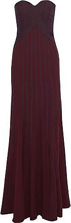 Halston Heritage Halston Heritage Woman Strapless Two-tone Crepe Gown Burgundy Size 12