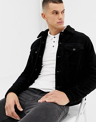 New Look corduroy jacket with fleece lining in black - Black
