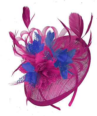 Caprilite Fuchsia Hot Pink and Royal Blue Sinamay Disc Saucer Fascinator Hat for Women Weddings Headband