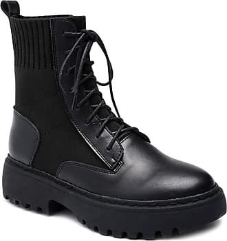 Daytwork Tactical Outdoor Martin Boots Women - Ladies Platform Lace Up Mid Calf Ankle Army Booties Autumn Winter Riding Non-Slip Casual Shoes Black
