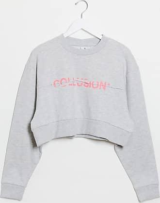 Collusion spliced logo cropped sweatshirt-Grey