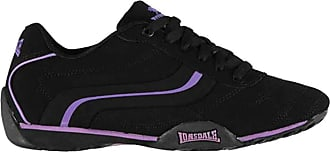 Lonsdale Womens Lace Up Camden Trainers (7 (40), Black/Purple)