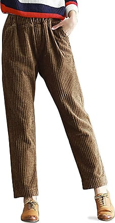 OCHENTA Womens Autumn/Winter Casual Corduroy Pants with Pockets Coffee UK 10-Tag XL