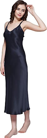 LilySilk 100% Mulberry Silk Nightdress Long Ladies Nightgown for Women 22 Momme Pure Silk Navy Blue Size 12/M
